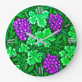 William Morris Grapevine, Purple and Green Large Clock