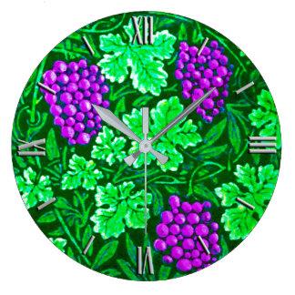 William Morris Grapevine, Purple and Green Large Clock