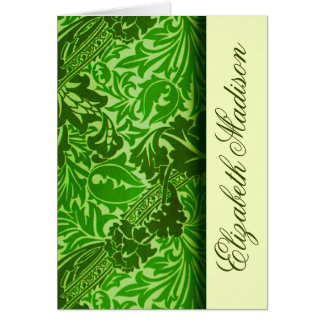 William Morris Green Leaves Personalized Note Card