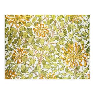 William Morris Honeysuckle Design Floral Vintage Postcard