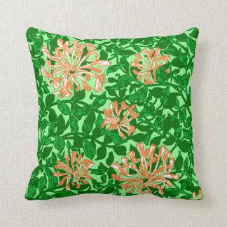William Morris Honeysuckle, Peach and Green Throw Pillow