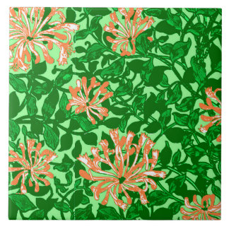 William Morris Honeysuckle, Peach and Green Tile