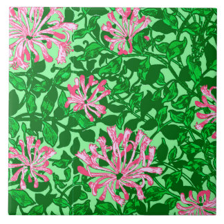 William Morris Honeysuckle, Pink and Green Tile