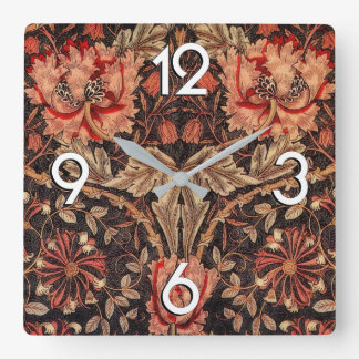 William Morris Honeysuckle Vintage Pattern Clock