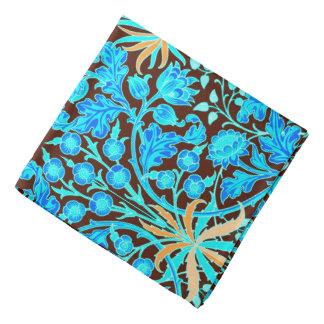 William Morris Hyacinth Print, Aqua and Brown Bandana