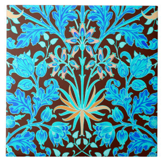 William Morris Hyacinth Print, Aqua and Brown Large Square Tile