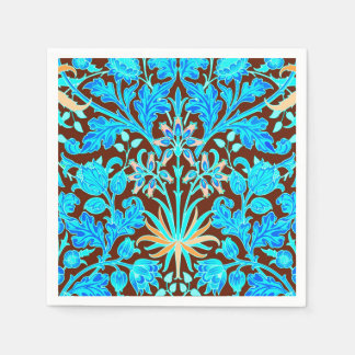 William Morris Hyacinth Print, Aqua and Brown Paper Napkin