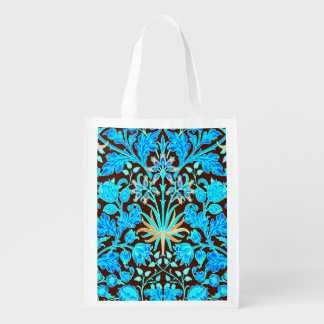 William Morris Hyacinth Print, Aqua and Brown Reusable Grocery Bag