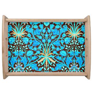 William Morris Hyacinth Print, Aqua and Brown Serving Tray