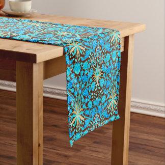 William Morris Hyacinth Print, Aqua and Brown Short Table Runner