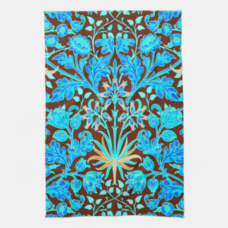 William Morris Hyacinth Print, Aqua and Brown Tea Towel