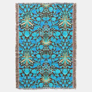 William Morris Hyacinth Print, Aqua and Brown Throw Blanket