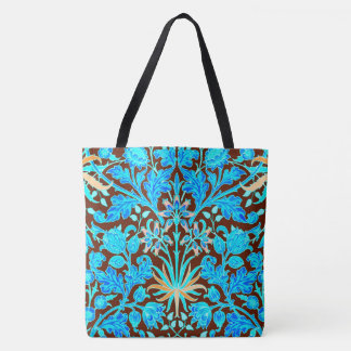 William Morris Hyacinth Print, Aqua and Brown Tote Bag