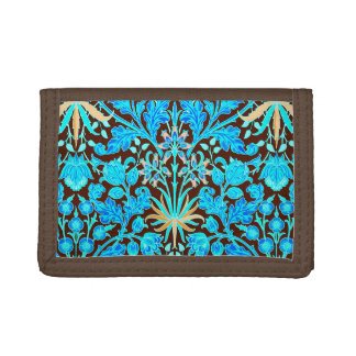 William Morris Hyacinth Print, Aqua and Brown Trifold Wallet