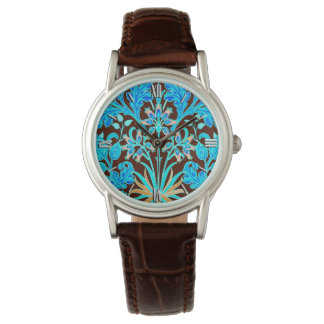 William Morris Hyacinth Print, Aqua and Brown Watch