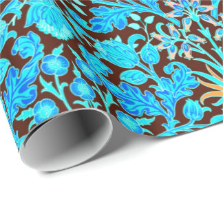 William Morris Hyacinth Print, Aqua and Brown Wrapping Paper
