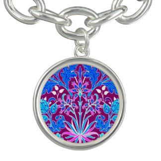 William Morris Hyacinth Print, Aqua and Purple