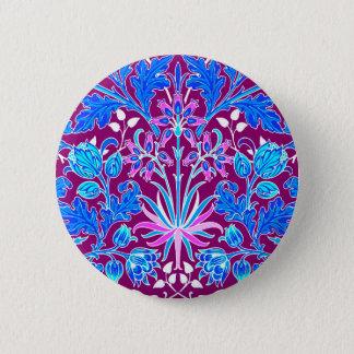 William Morris Hyacinth Print, Aqua and Purple 6 Cm Round Badge