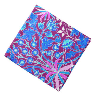 William Morris Hyacinth Print, Aqua and Purple Bandana