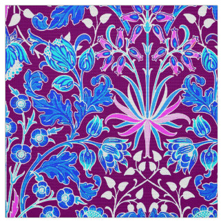 William Morris Hyacinth Print, Aqua and Purple Fabric