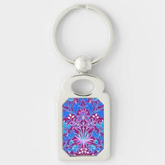 William Morris Hyacinth Print, Aqua and Purple Key Ring