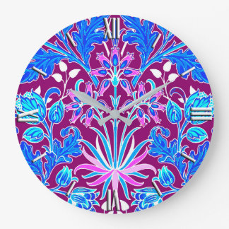 William Morris Hyacinth Print, Aqua and Purple Large Clock