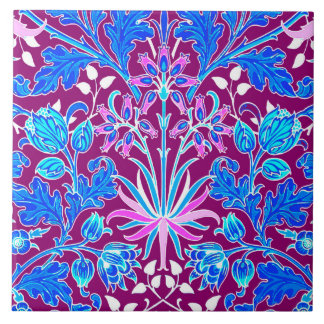 William Morris Hyacinth Print, Aqua and Purple Large Square Tile