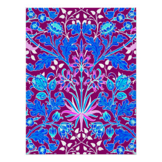 William Morris Hyacinth Print, Aqua and Purple Poster