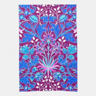 William Morris Hyacinth Print, Aqua and Purple Tea Towel