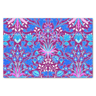 William Morris Hyacinth Print, Aqua and Purple Tissue Paper