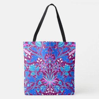 William Morris Hyacinth Print, Aqua and Purple Tote Bag