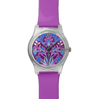 William Morris Hyacinth Print, Aqua and Purple Watch