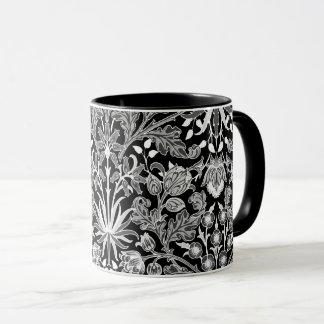 William Morris Hyacinth Print, Black and White Mug
