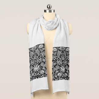 William Morris Hyacinth Print, Black and White Scarf