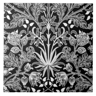 William Morris Hyacinth Print, Black and White Tile