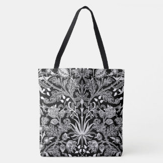 William Morris Hyacinth Print, Black and White Tote Bag