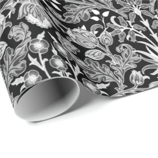 William Morris Hyacinth Print, Black and White Wrapping Paper