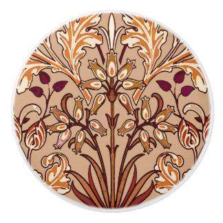 William Morris Hyacinth Print, Brown and Beige Ceramic Knob