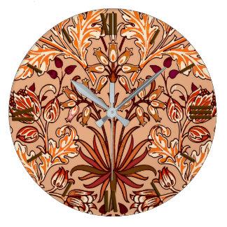 William Morris Hyacinth Print, Brown and Beige Large Clock