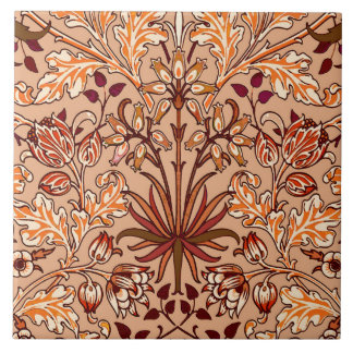 William Morris Hyacinth Print, Brown and Beige Large Square Tile