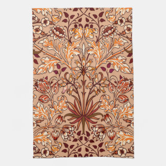 William Morris Hyacinth Print, Brown and Beige Tea Towel