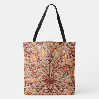 William Morris Hyacinth Print, Brown and Beige Tote Bag