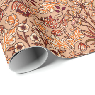 William Morris Hyacinth Print, Brown and Beige Wrapping Paper