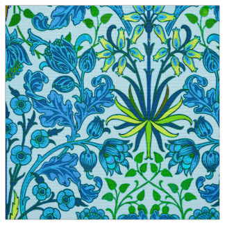 William Morris Hyacinth Print, Cerulean Blue Fabric