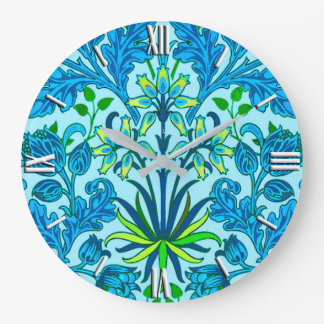 William Morris Hyacinth Print, Cerulean Blue Large Clock
