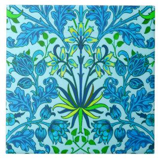 William Morris Hyacinth Print, Cerulean Blue Large Square Tile