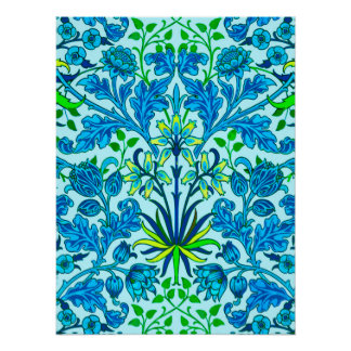 William Morris Hyacinth Print, Cerulean Blue Poster