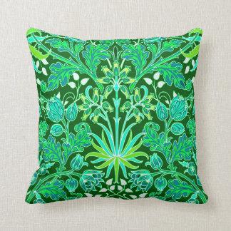 William Morris Hyacinth Print, Emerald Green Cushion
