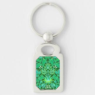 William Morris Hyacinth Print, Emerald Green Key Ring