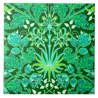 William Morris Hyacinth Print, Emerald Green Large Square Tile